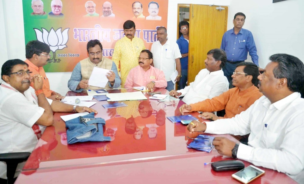 <p>National general secretary Ram Madhav along with State president Laxman Gilua, MPs Jayant Sinha, Sudarsan Bhagat and Ravindra Rai, former Chief Minister Arjun Munda and others during…