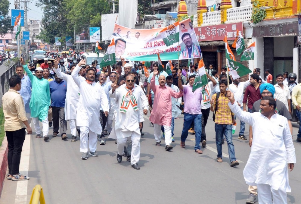 <p>Congress party workers and supporters demonstrate against Jharkhand Government at  Albert Ekka Chowk on Saturday morning during a daylong Strike to condemn deaths of 14…
