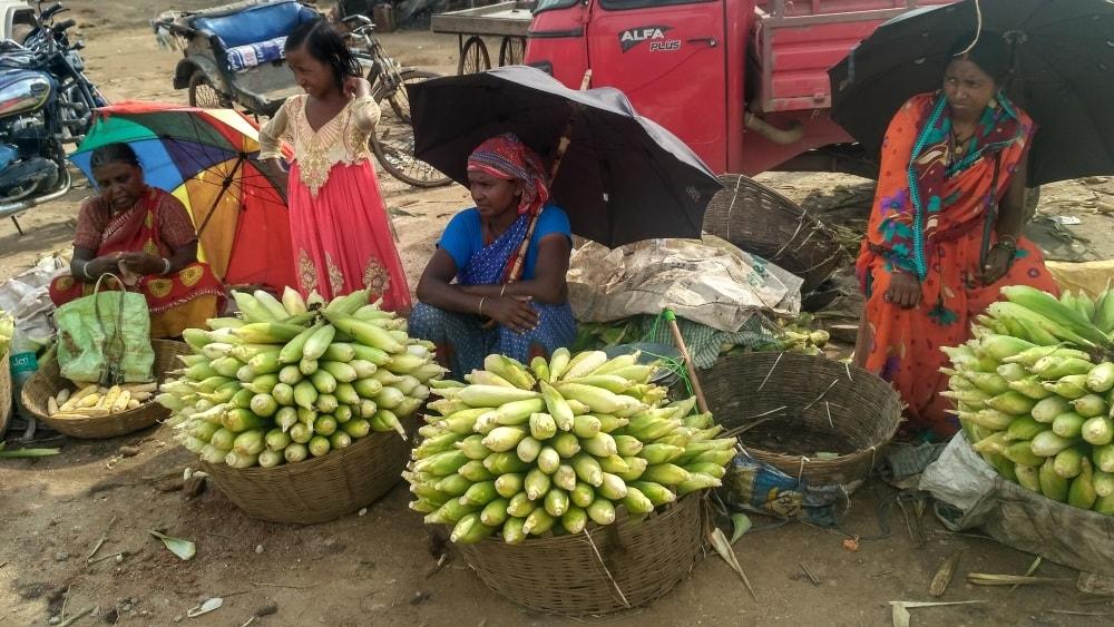 <p>Women selling maize along roadside in Ranchi,capital of Jharkhand.</p>