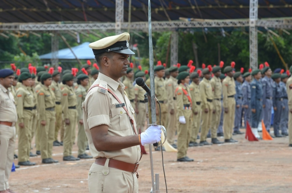 <p>Ahead of August 15 Independence Day celebrations,security men parade at Morahabadi Maidan in Ranchi.</p>