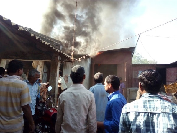 <p>Three shops at Mangla Hat in Chaibasa were set ablaze.The fire brigade was awaited to stop the fire.</p>