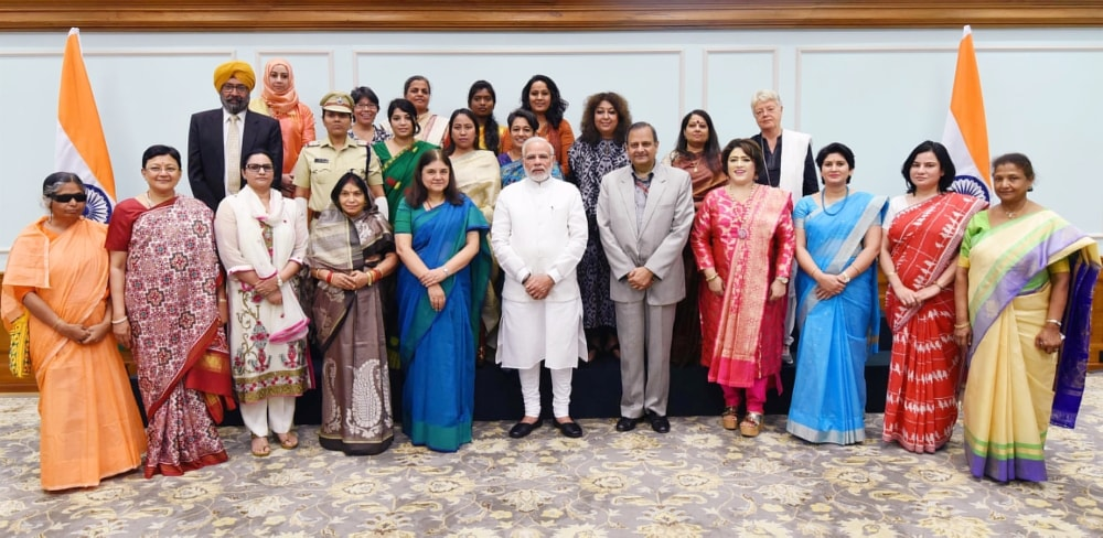 <p>Prime Minister Narendra Modi along with Jharkhand's renowned ophthalmologist Dr Bharti Kashyap and other Nari Shakti Puraskar recipients pose for photographs in New Delhi on…