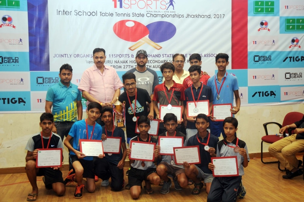 <p>Cricketer Saurabh Tiwari along with various sports organizations officials during the concluding day ceremony of 'Inter school Table Tennis State Championships' organized…