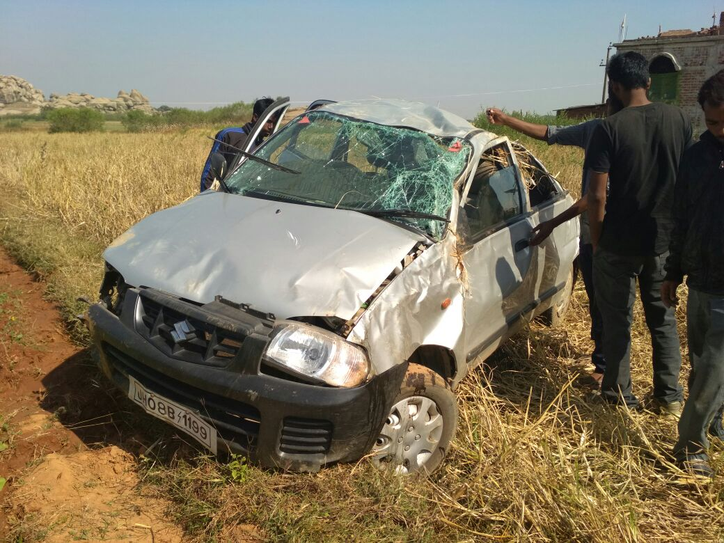 <p>A Maruti Alto car enroute to Lohardagga from Ranchi, all of sudden lost control and fell into the paddy fields along the road near Khukra village under Narkopi police station.One…