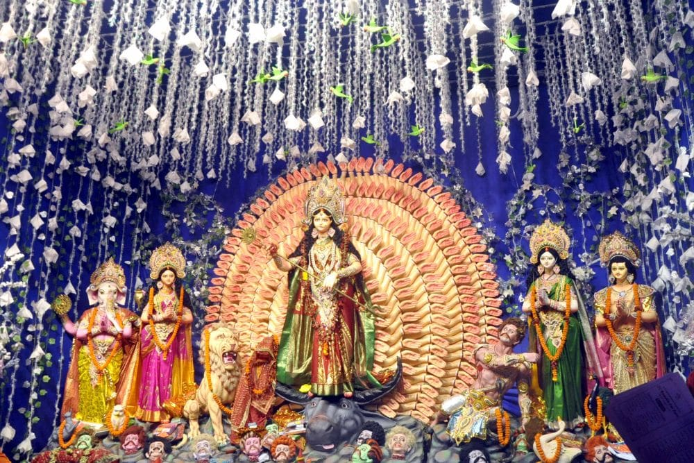 <p>Inner view of Bariatu Housing Colony Puja pandal on the occasion of  'Maha Ashtmi' during the ongoing Durga Puja festival in Ranchi on Wednesday.</p>