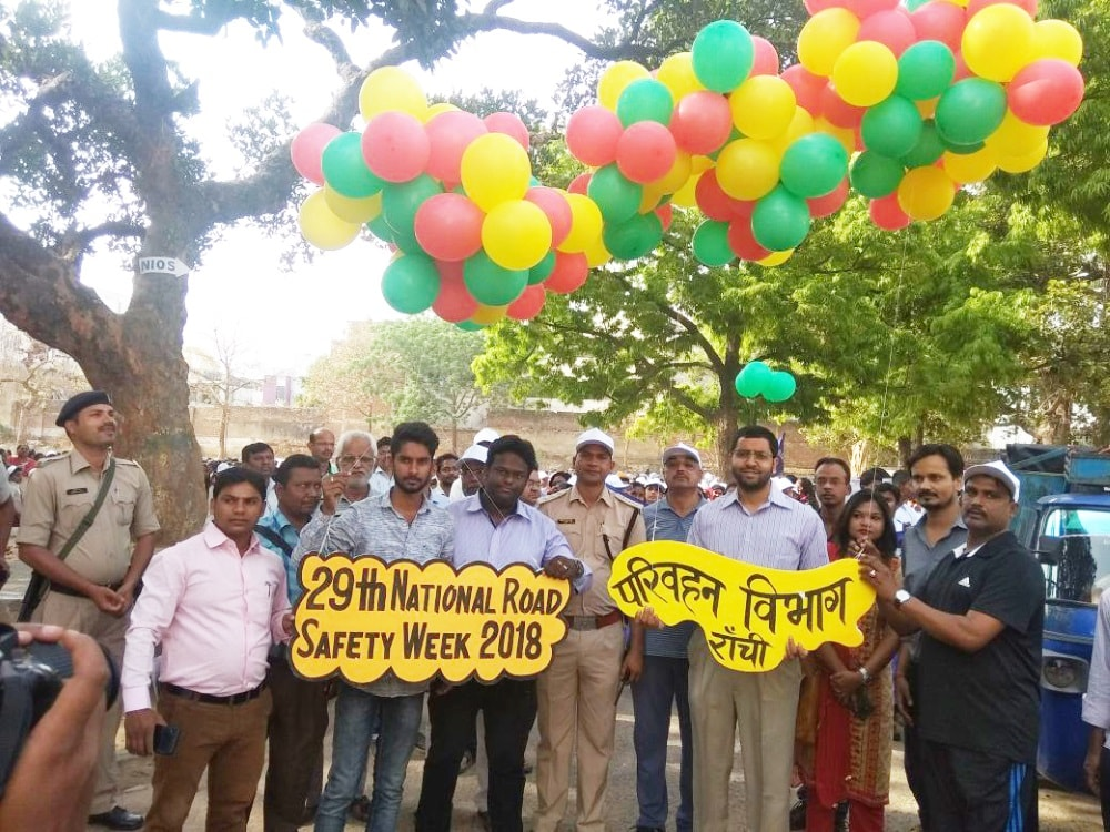 <p>Deputy Commissioner Rai Mahipat Ray along with others releases balloons during the inaugural ceremony of the nine days programme on road safety and traffic awareness at Zila school…