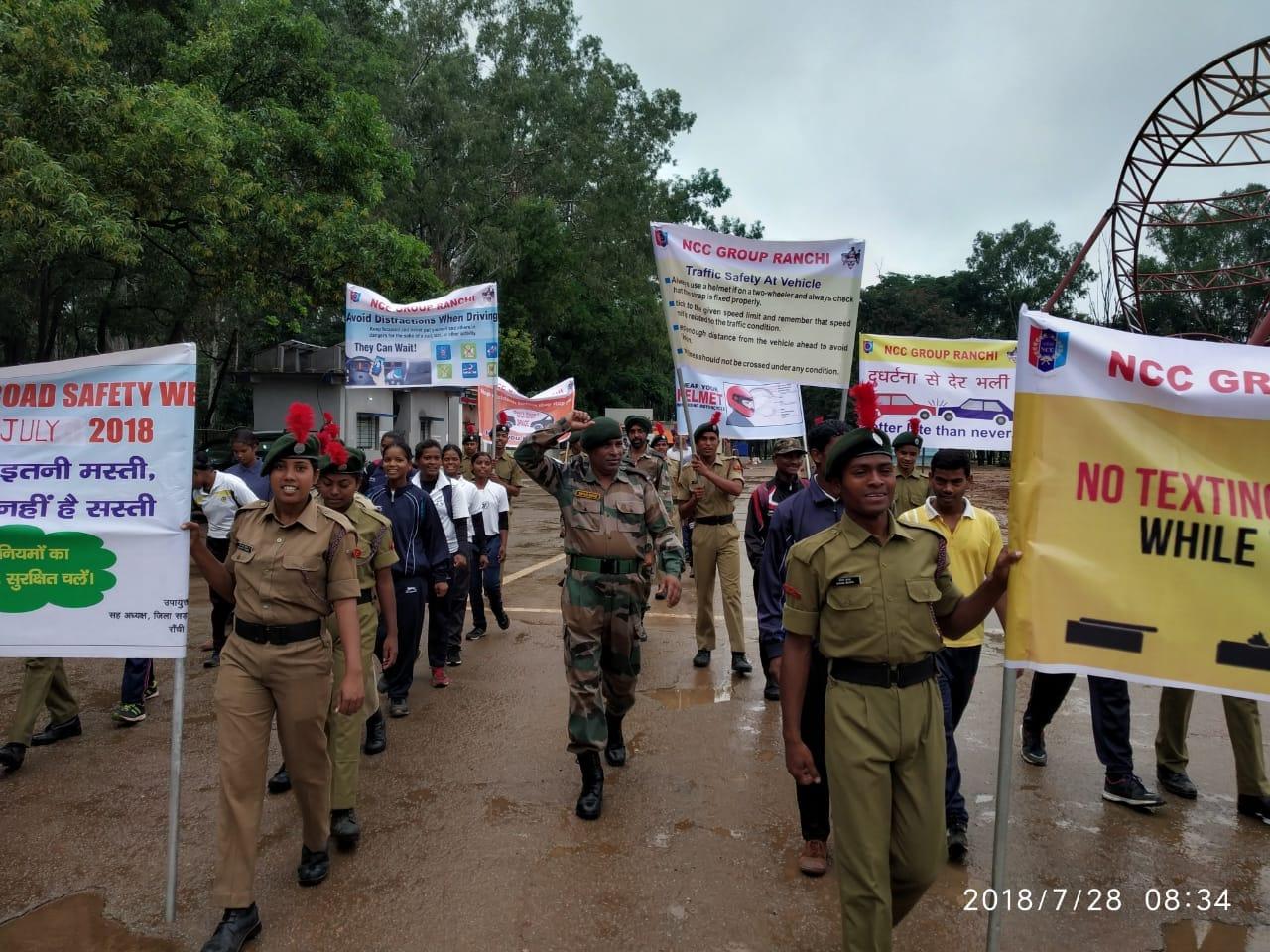<p>रांची- मोरहाबादी में एनसीसी कैडेटों द्वारा आज सुबह राष्ट्रीय सड़क सुरक्षा जागरूकता मार्च किया गया।</p>