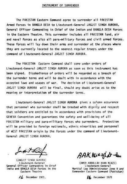 <p>Instrument of Surrender- Indo-Pak War 1971</p>