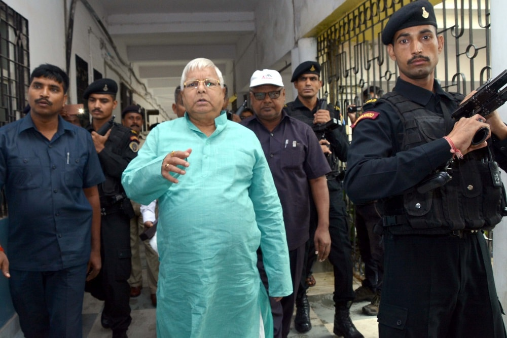 <p>Lalu Prasad Yadav, former Bihar Chief Minister and Rashtriya Janata Dal (RJD) party supremo on his arrival at the CBI Court Ranchi in connection with the multi-crore fodder scam…