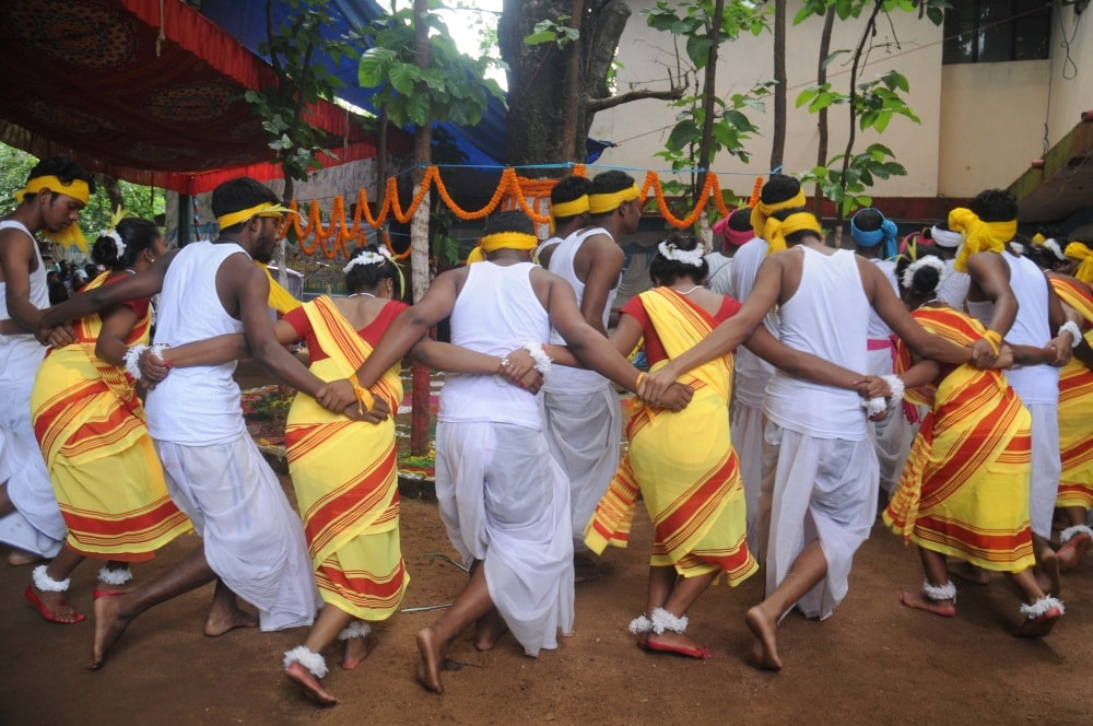 <p>College students performs cultural program on the occasion of 'Karma' festival at Tribal Regional Language department in Ranchi on Saturday. The Karma is…