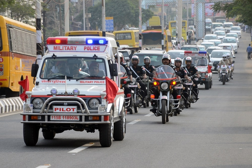 <p>Military police personnel perform drill during a rehearsal on the eve of the President Ramnath Kovind's programme in Ranchi on Tuesday. The President will participate in 17th…