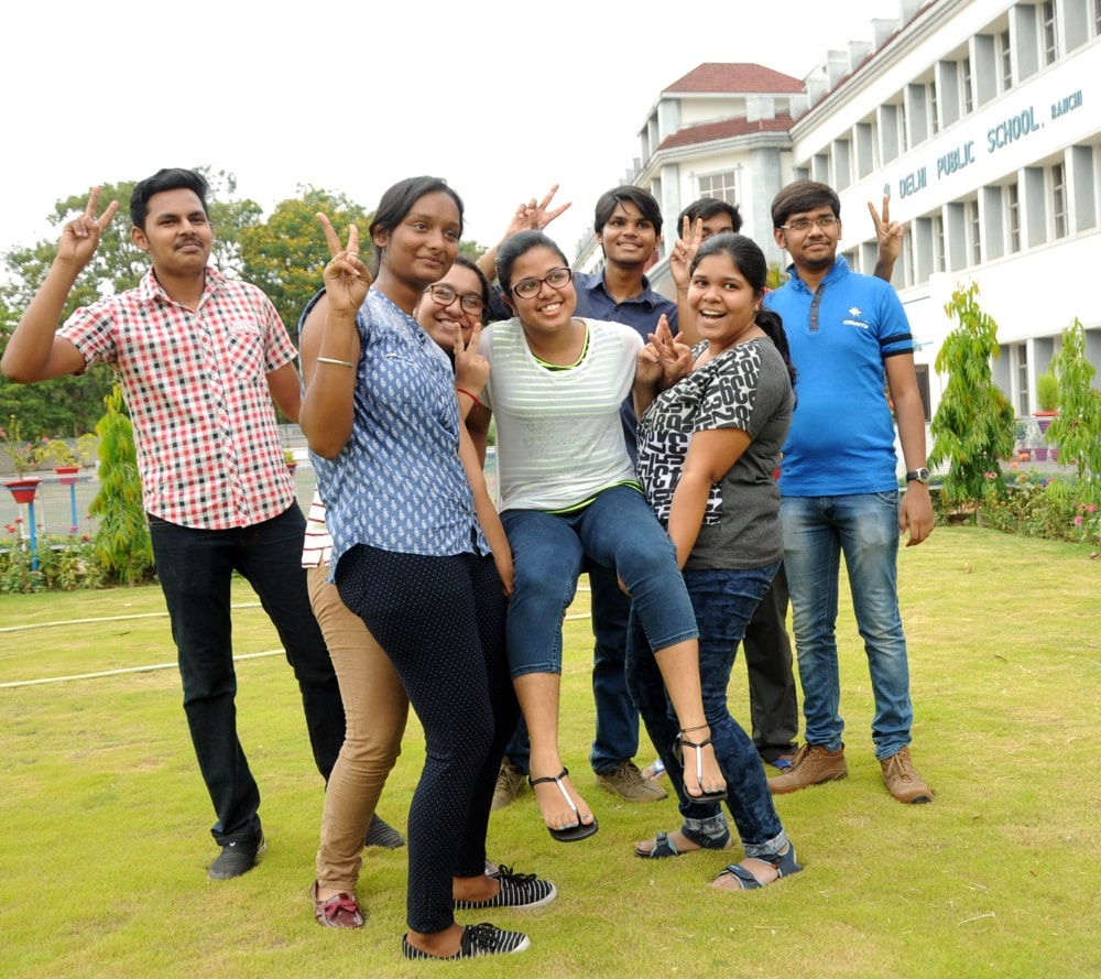 <p>Students in Ranchi celebrate scoring high points in CBSE Class12 results declaredon Sunday.</p>