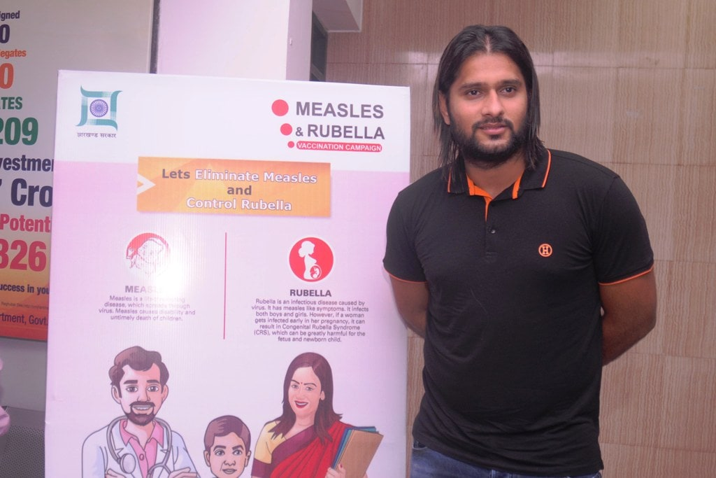 <p>International cricketer and former Jharkhand Ranji skipper Saurabh Tiwary during a press briefing on the introduction of the Measles Rubella (MR) vaccine in Jharkhand, at Information…