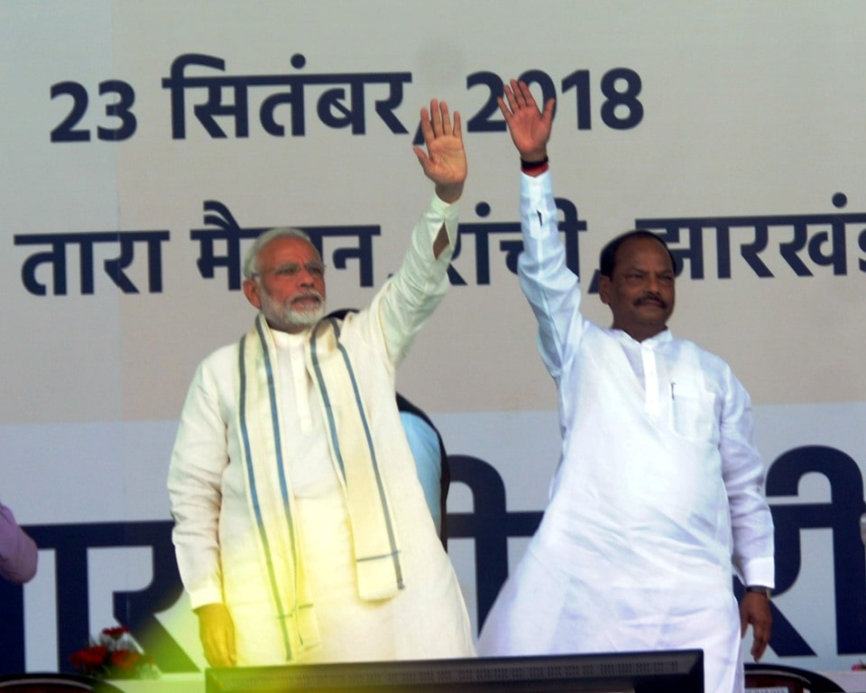 "<p>Prime Minister Narendra Modi and Jharkhand Chief Minister Raghubar Das during the launching ceremony of ""Ayushman Bharat"" health scheme at Prabhat Tara ground in Ranchi…"
