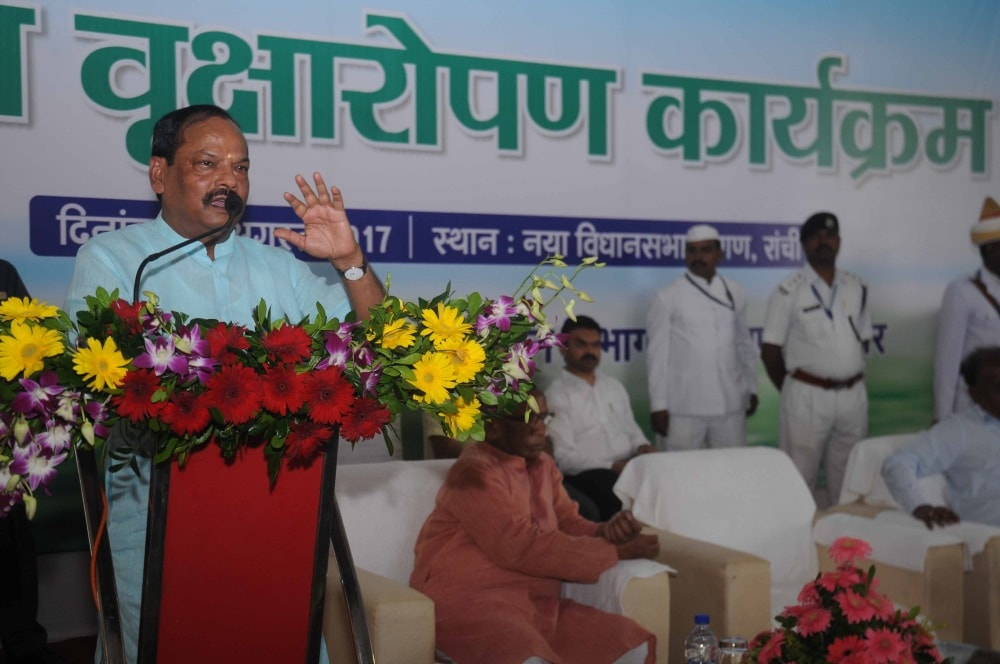 <p>Jharkhand Chief Minister Raghubar Das addresses a gathering during a Large Plantation programme on the occasion of Van Mahastav at new Assembly Premises in Ranchi on Tuesday.</p>…