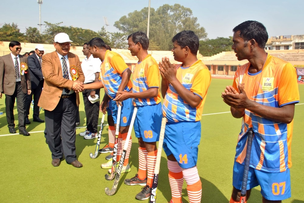 <p>Chief guest CGMT KK Thakur and other dignitaries interacting with the players during the inaugural ceremony of the 17th All India Hockey Tournament-2017 at Astro-turf Hockey stadium…