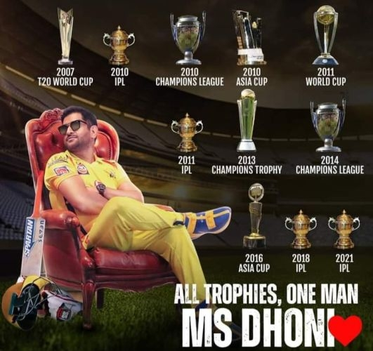 <p>All trophies, One Man - MS Dhoni.</p>