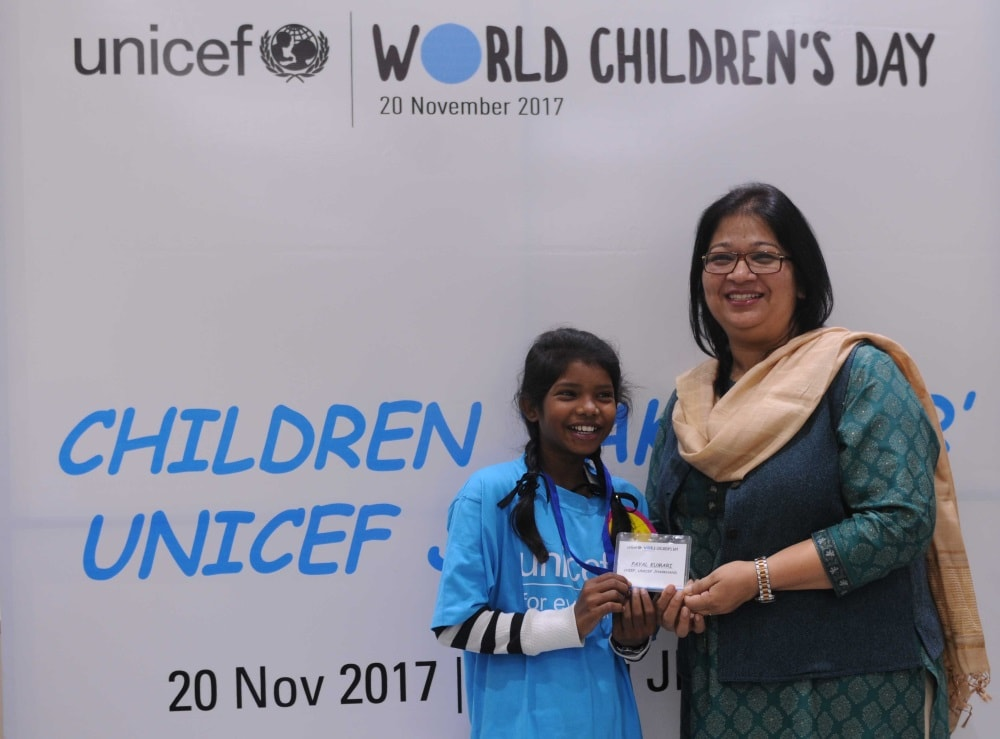 <p>13 year old Payal Kumari from the Government Upgraded Middle School in Namkum, Ranchi was announced UNICEF Jharkhand Chief for a day on the occasion of World Children's Day…