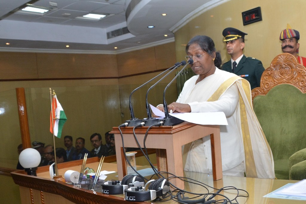 <p>Jharkhand Governor Draupadi Murmu addresses the State Assembly during the first day of the Budget session of Jharkhand Assembly in Ranchi on Thursday.</p>
