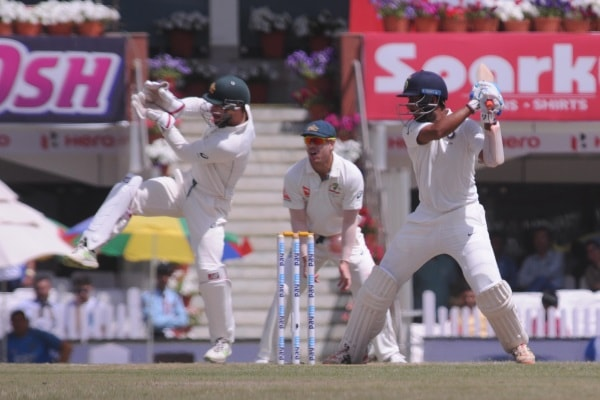 <p>India's Murli Vijay play a shot against Australia during 3rd day of 3rd test match against India at Jharkhand State Cricket Association (JSCA) stadium in Ranchi on Saturday.</p>…