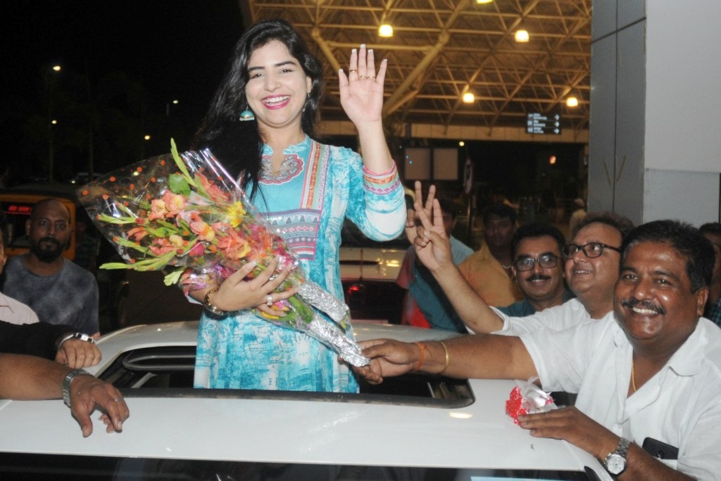 <p>South Indian Telugu film actress and dancer Shikha Malhotra during a road show ahead of Jharkhand International Film Festival Award, in Ranchi on Wednesday.</p>