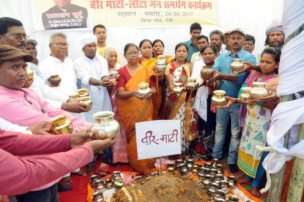 <p>Adivasi Sengel Abhiyan national President Salkhan Murmu with activists in the campaign during inaugural ceremony of the 'Veer Matee-Lota Jansamarthan' programme…