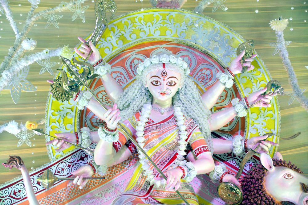 <p>An idol of Goddess Durga at OCC Club Puja pandal during Durga Puja festival in Ranchi on Wednesday.</p>