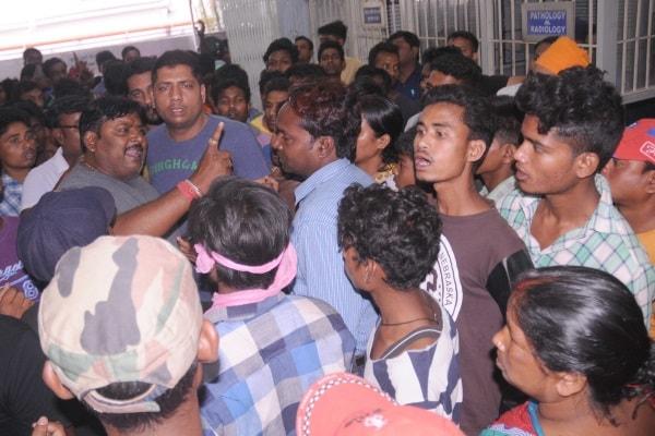 <p>Relatives and friends gather inside Gurunanak hospital of injured devotees during clash with organizing committee of Argora Ramnavami 'Astra Shashtra Chalan Pratiyigita'…