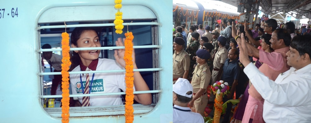 <p>Chief Minister Raghubar Das alongwith School education department secretary Aradhna Patnaik, Ranchi DRM V K Gupta and others during flagging off of a special train for carrying…