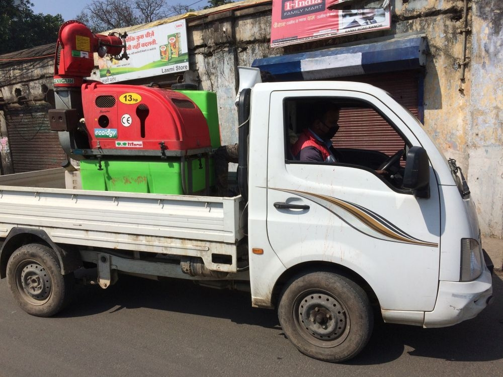 <p>Ranchi Municipal Corporation carried out a desensitization campaign on the Janata Curfew Day- March 23, 2020, in Ranchi - when RMC vehicle with a driver and spray master were spotted…