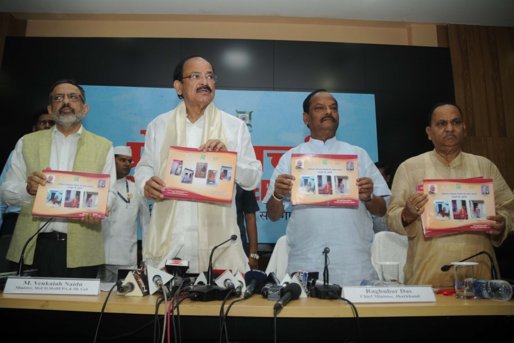 <p>Union Minister for Information & Broadcasting M Venkaih Naidu (2nd_L), Jharkhand Chief Minister Raghubar Das (3rd-L) and Urban Development Minister CP Singh releases various…