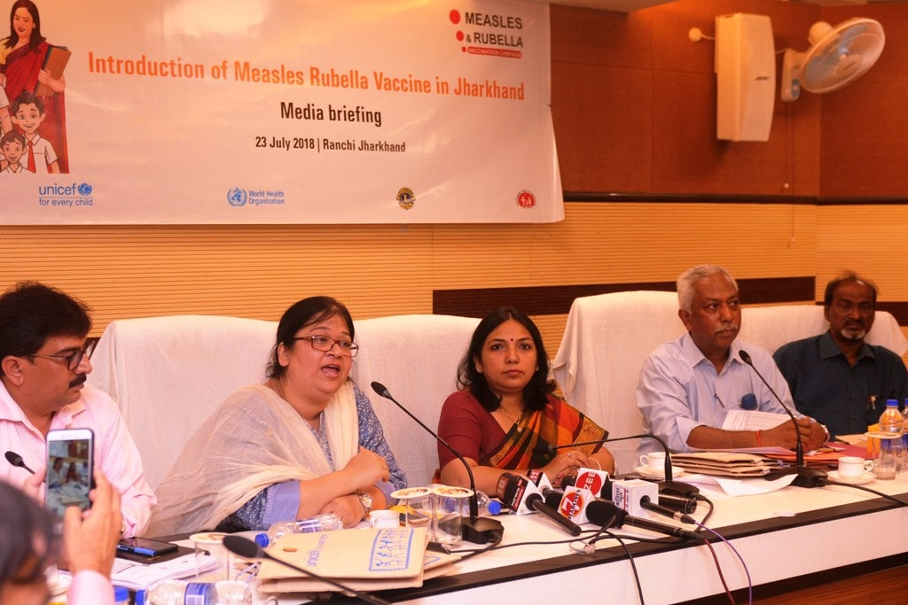 <p>Principal Secretary, Department of Health & Family Welfare Nidhi Khare along with UNICEF Jharkhand Chief Dr. Madhulika Jonathan and others during a press briefing on the introduction…