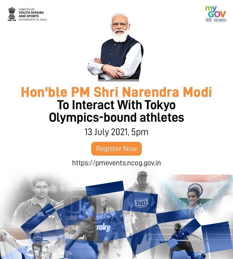 <p>माननीय प्रधानमंत्री श्रीनरेंद्र मोदी 13 जुलाई को आगामी टोक्यो ओलंपिक खेलों में भाग लेने वाले एथलीटों से बातचीत करेंगे। Cheer4Indiaकार्यक्रम के लिए रजिस्टर करें: http://pmevents.ncog.gov.in.</p>…