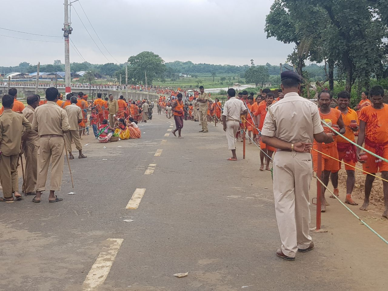 <p>Security forces maintaining law and order in Deoghar,centre of Baidyanath Dham devotees of Shravani Mela</p>