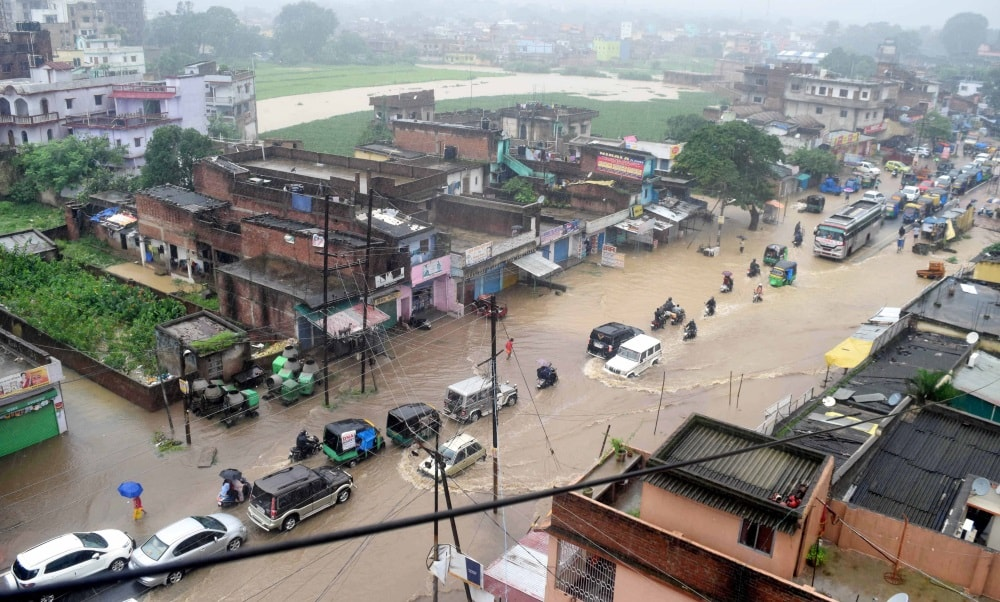 <p>An aerial view of a Pandra Panchshil Nagar over the flooded area after continuous heavy downpour in Ranchi on Tuesday. Normal life has been heavily affected due to incessant rains.</p>…