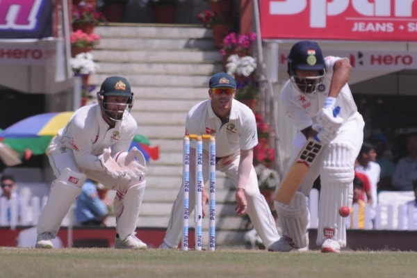 <p> India's C Pujjara play a shot against Australia during 3rd day of 3rd test match against India at Jharkhand State Cricket Association (JSCA) stadium in Ranchi on…