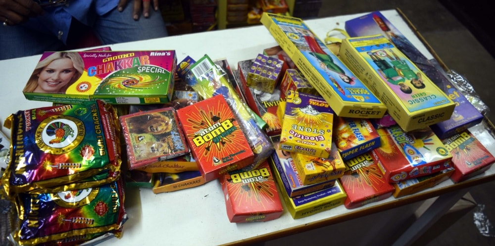 <p>Charkhas, Phuljharis, Rockets and many more such fire crackers adorn the display counter of Shops selling fire crackers at various markets of Ranchi</p>