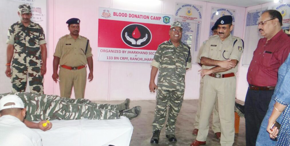 <p>133 Bn CRPF officials and jawans during a blood donation camp for RIMS blood bank on the occasion of Raising Day celebration at White hall, Jharkhand High Court in Ranchi on Friday.…