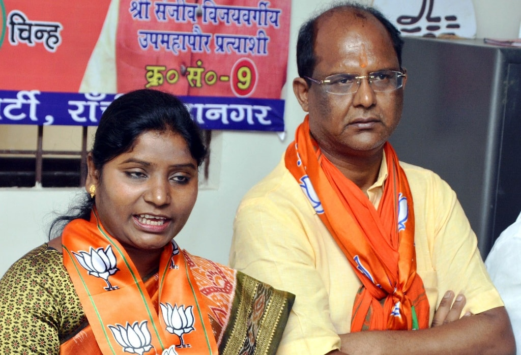 <p>BJP Mayor and Deputy Mayor candidate Asha Lakra and Sanjiv Vijayvergia during a press conference at an election office in Ranchi on Thursday.</p>