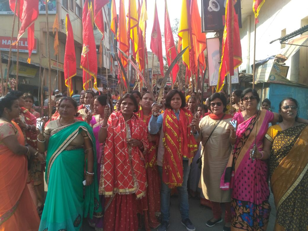 <p>Nari Sena during Ramnavami procession in Ranchi on sunday.</p>