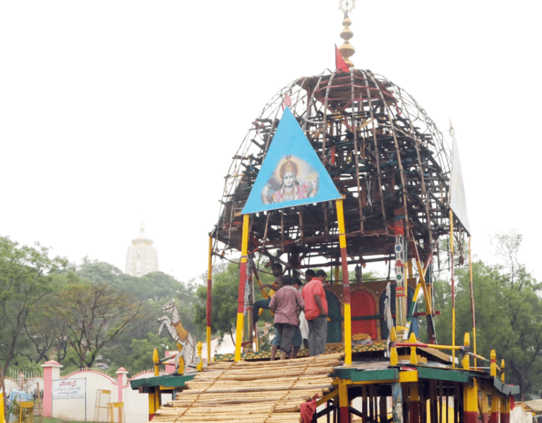 <p>Chariot being readied for the Rath Yatra festival at Jagannathpur in Ranchi on Saturday.</p>