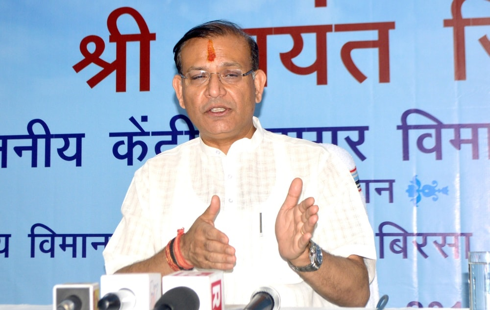 <p> Union Minister of State for Civil Aviation Jayant Sinha addresses media persons at Birsa Munda International Airport in Ranchi on Saturday.</p>