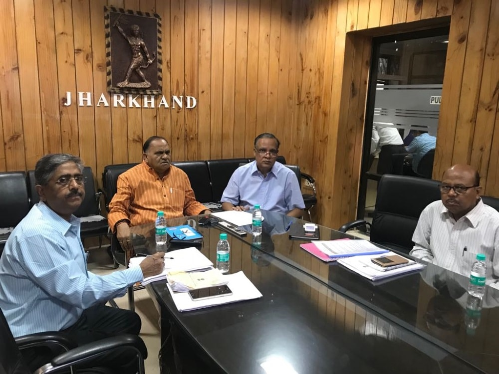 <p> C.P Singh attending video conference during GSTcouncil meet.</p>