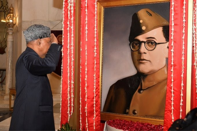 <p>President Kovind unveils the portrait of Netaji Subhas Chandra Bose at Rashtrapati Bhavan to commemorate his 125th birth anniversary celebrations.</p>