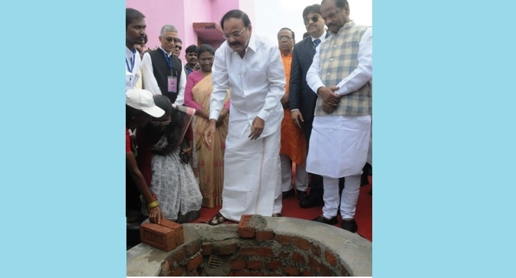 <p>Vice-President of India Venkaiah Naidu, Jharkhand Governor Droupadi Murmu and Chief Minister Raghubar Das laying a foundation stone for water harvesting systems at a Government…