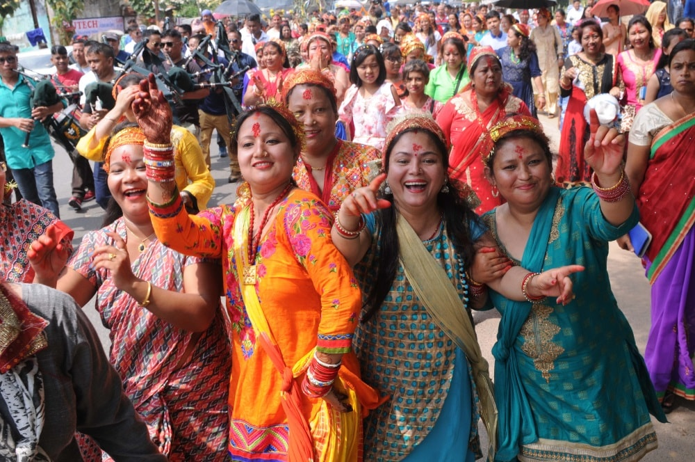 <p>Nepali women participate in a rally as the Nav Patrika Parivash (start of a new year) on the seventh day of Navratra festival in Ranchi on Wednesday.</p>