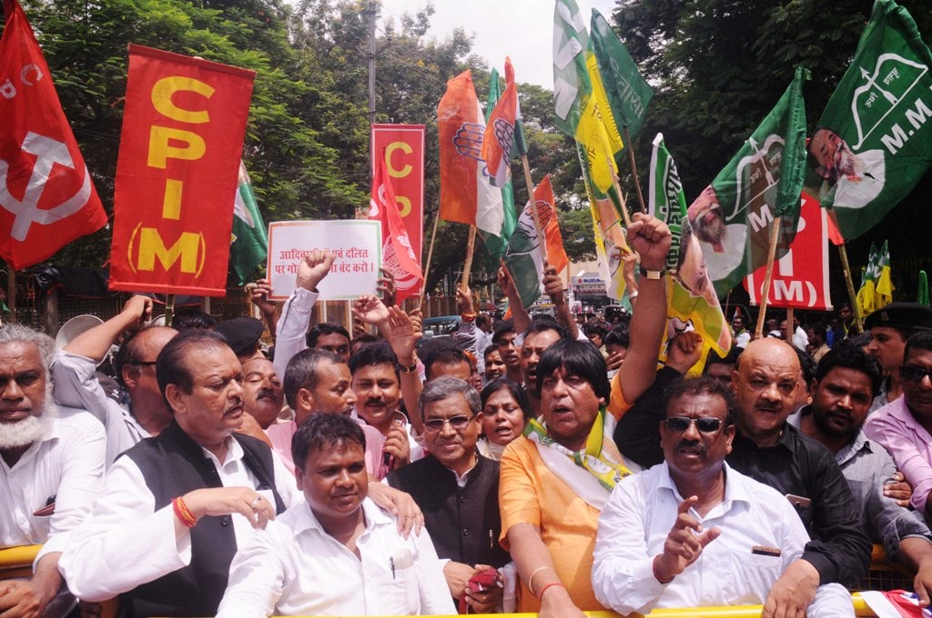 <p>Former Union Minister Subodh Kant Sahay, former Jharkhand Chief Minister and JVM Chief Babulal Marandi along with all opposition party leaders during Rajbhawan protest march against…