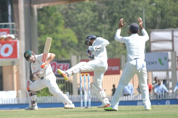 <p>Australia's D Warner plays and hits ashot against India during the first day of the five day third Test match against India at JSCA International Stadium in Ranchi.</p>…