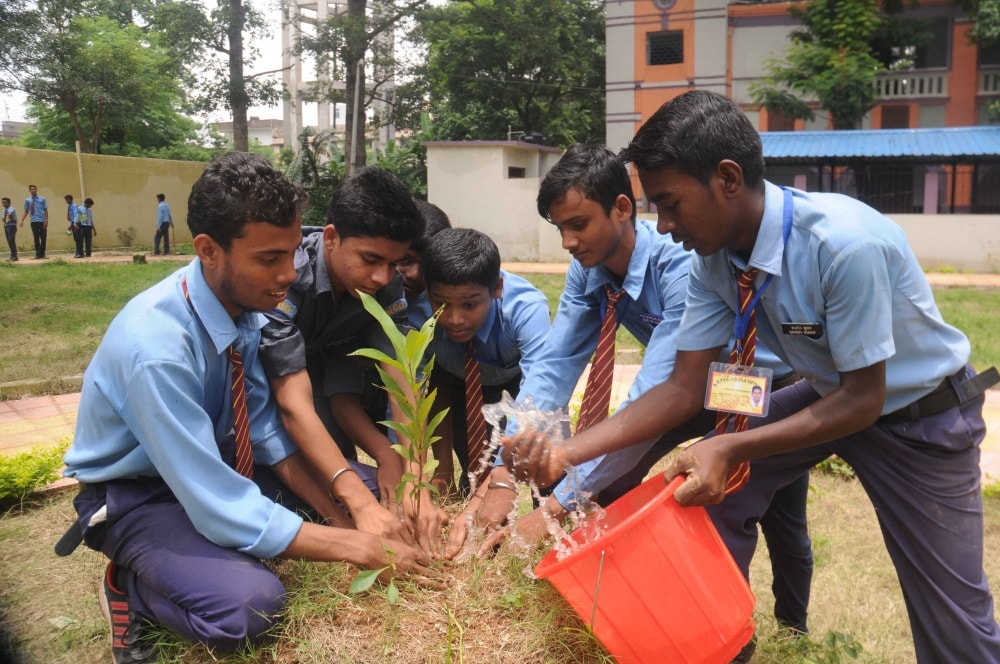 <p>Ranchi Zila School children plants tree on the occasion of 'Van Mahastav week' at their school campus in Ranchi on Saturday.</p>