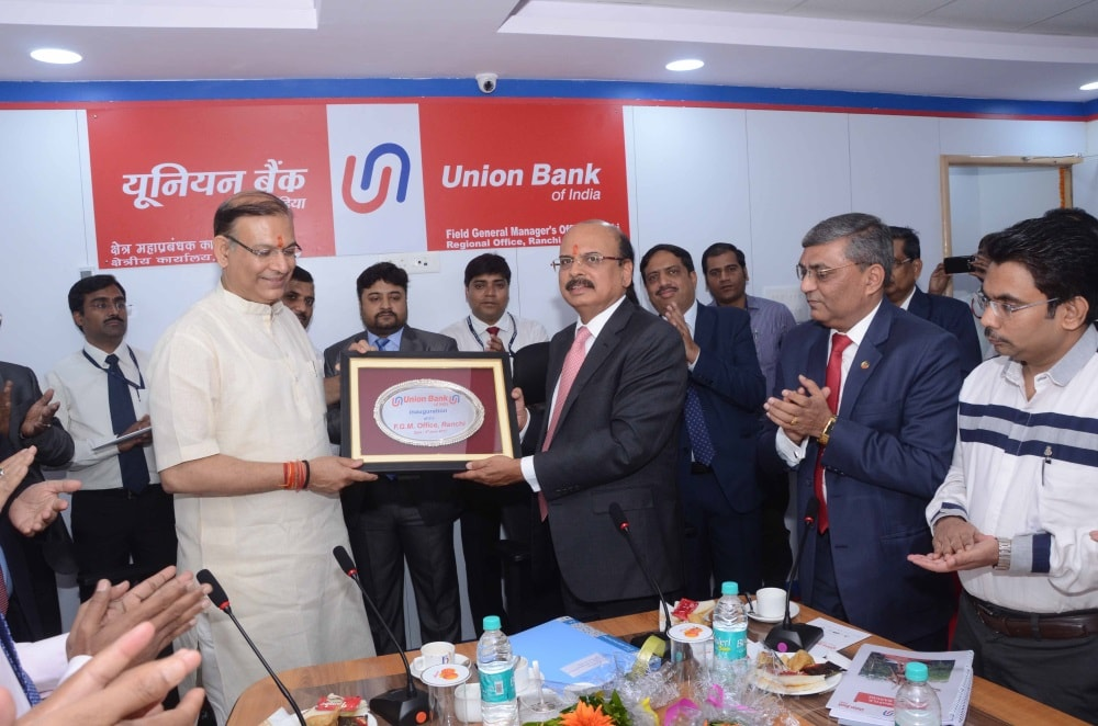 <p>Union Minister of State for Civil Aviation and Finance Jayant Sinha inaugurate Union Bank of India branch near Argora Chowk in Ranchi on Saturday.</p>
